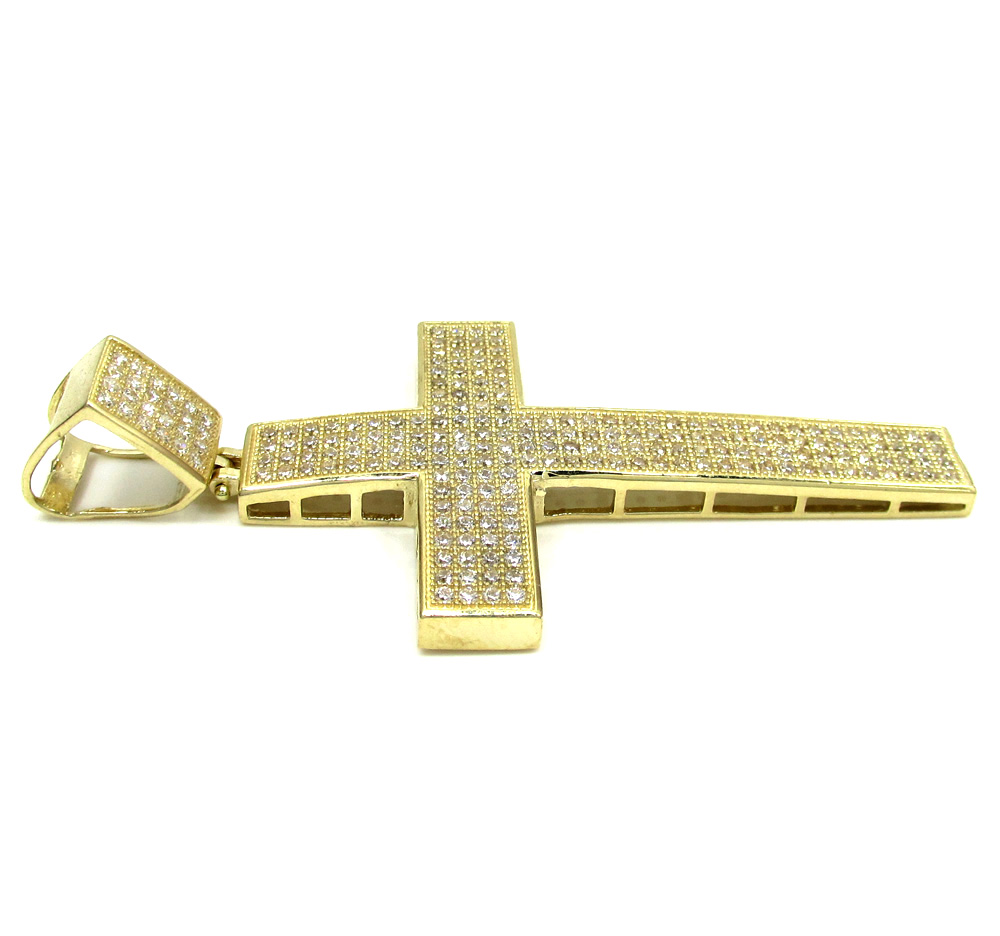 10k yellow gold large cz cross pendant 1.50ct