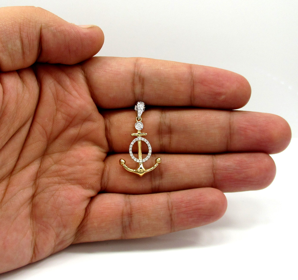 14k yellow and white gold diamond anchor pendant 0.36ct