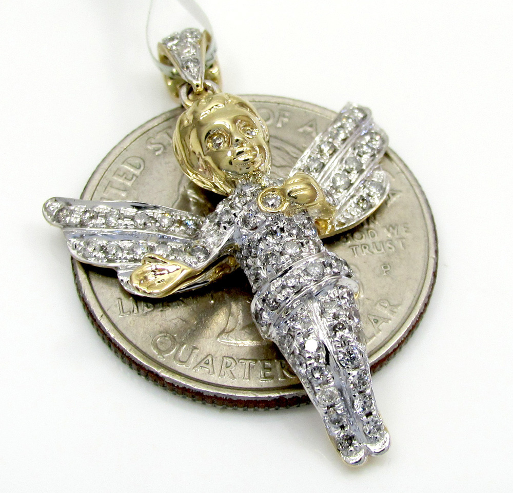 10k yellow and white gold iced out baby angel diamond pendant 0.81ct