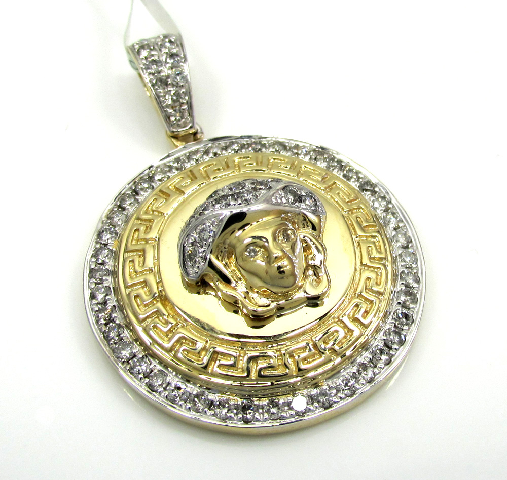 10k yellow and white gold halo medusa head diamond pendant 0.98ct