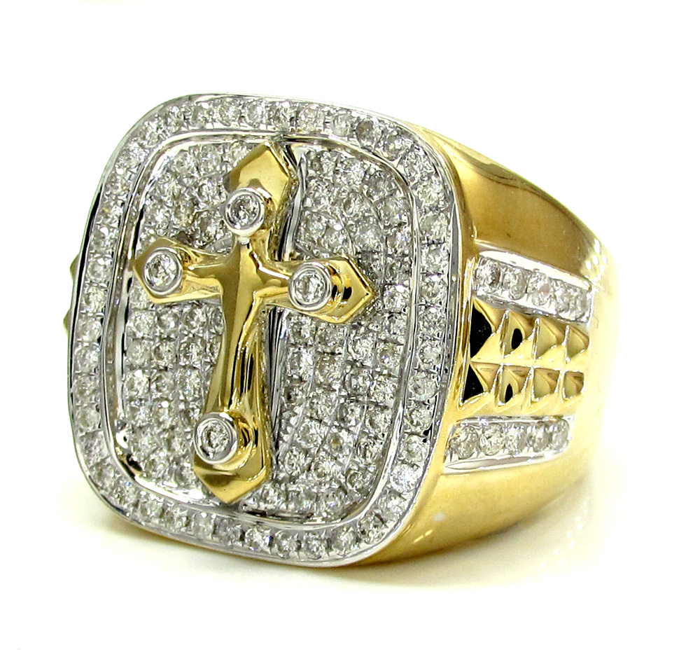 14k yellow and white gold diamond cross ring 1.32ct