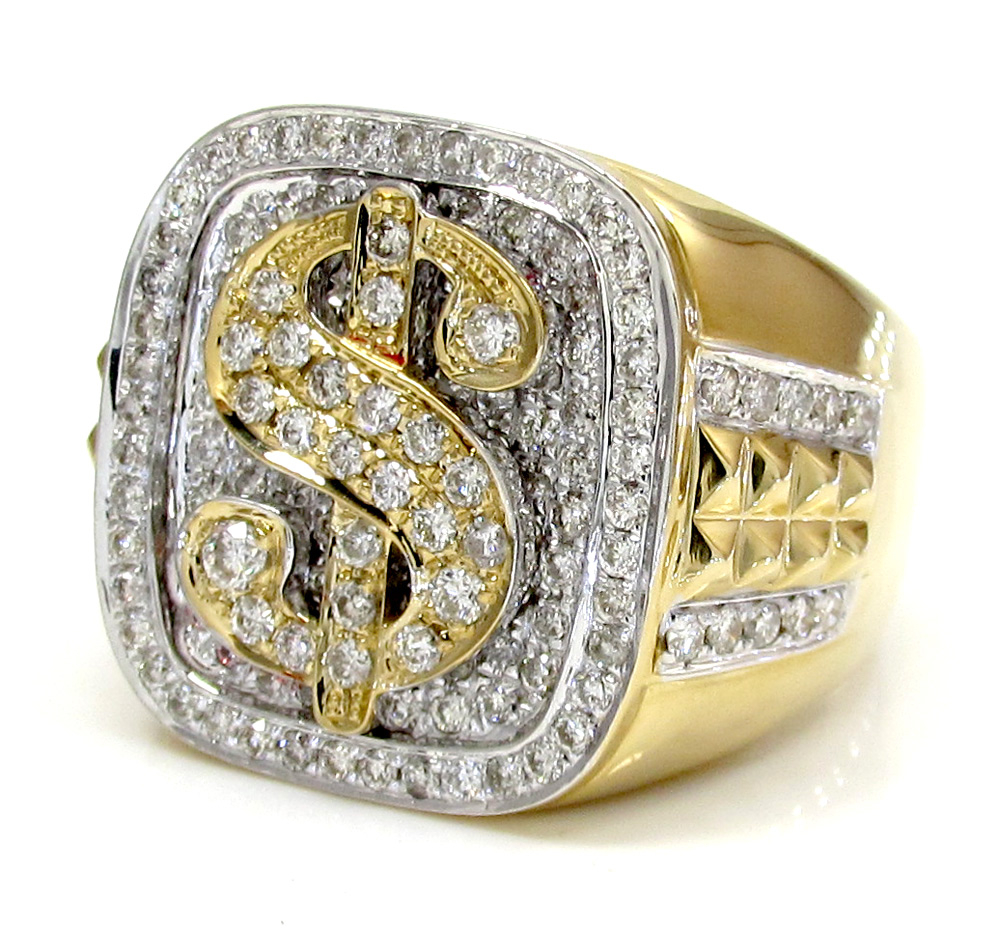 14k yellow and white gold diamond dollar sign money ring 1.56ct