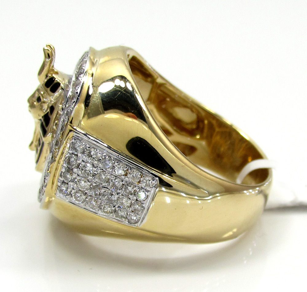 14k white and yellow gold diamond pharaoh ring 1.23ct