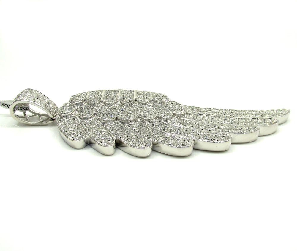 14k unisex white gold super xl diamond angel wing pendant 7.70ct