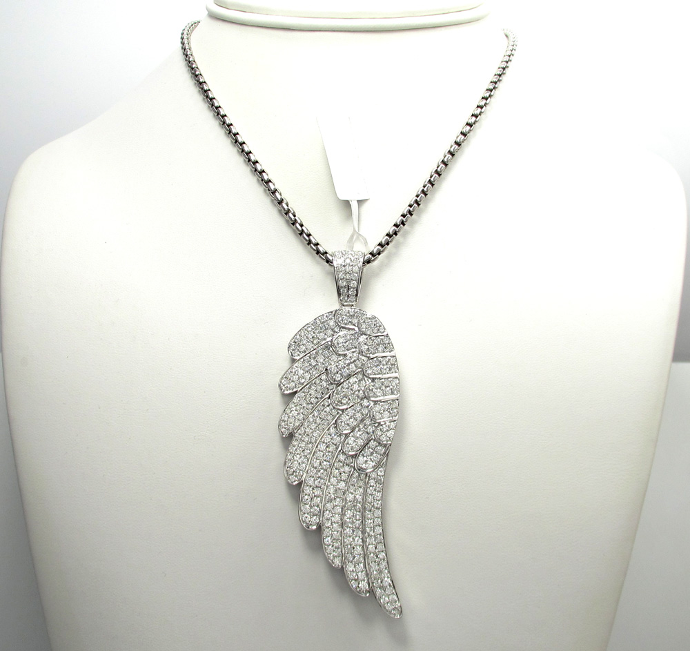 necklace inch silver guardian jewelry wings angel heart pave pendant az b tone cz sterling wing bling yly