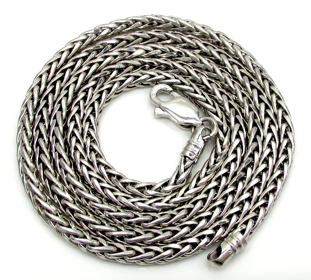 14k white gold hollow skinny wheat franco chain 16-24 inch 2.2mm