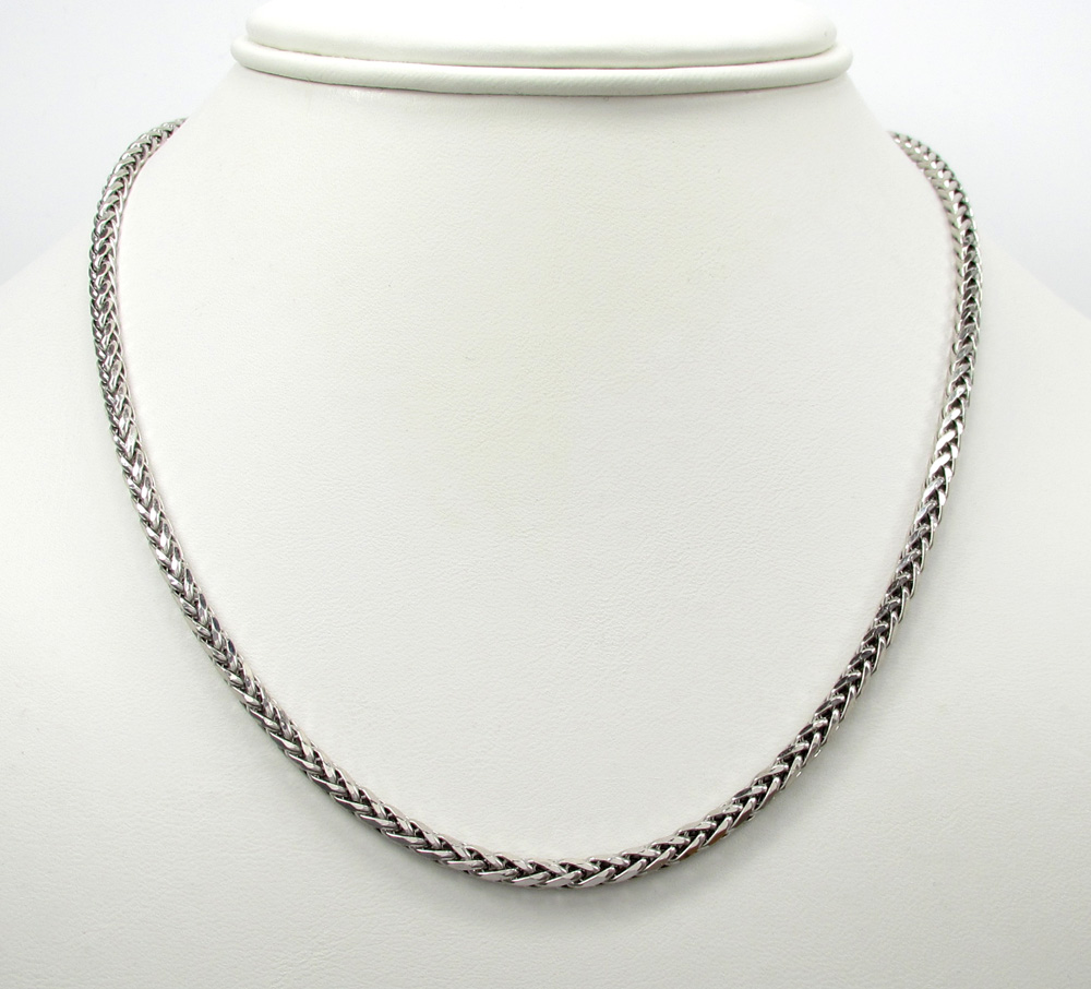 14k white gold hollow wheat franco chain 16-30 inch 3.5mm