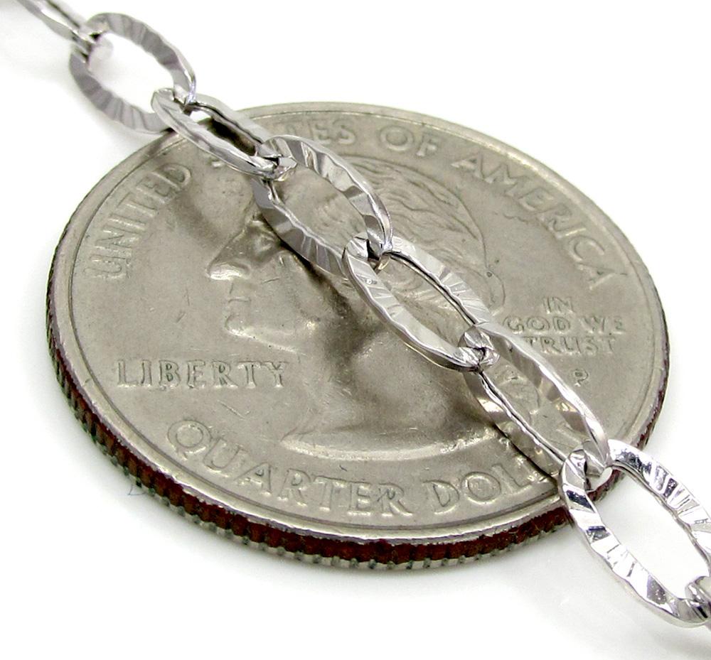 14k white gold fancy hollow diamond cut oval box chain 16-20 inch 4.5mm
