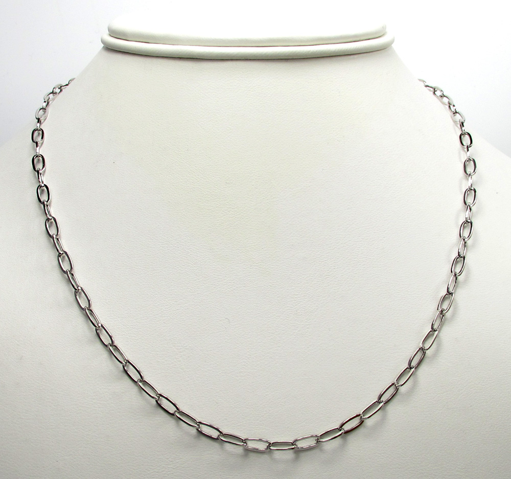 14k white gold fancy hollow oval box chain 16-30 inch 3.5mm