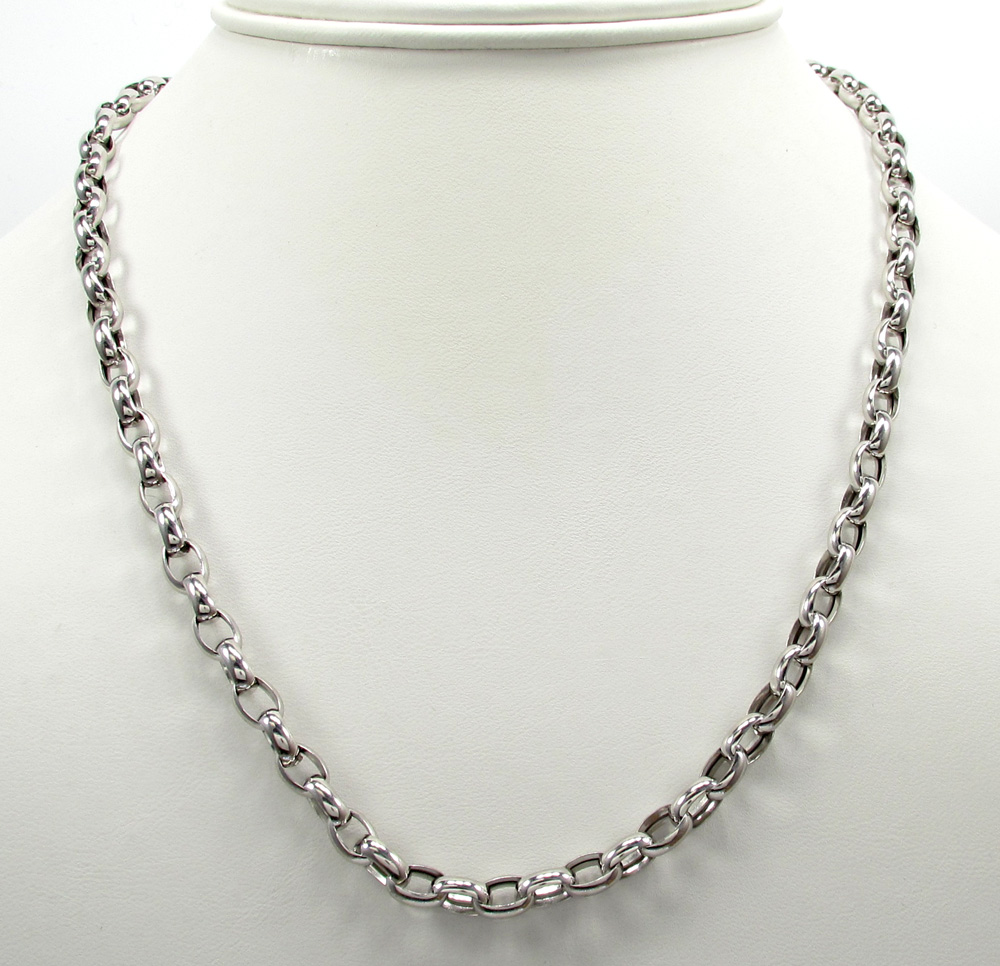 Fine Jewelry Mens Gray Stainless Steel 22 5.5mm Rolo Chain 5goIY6SE