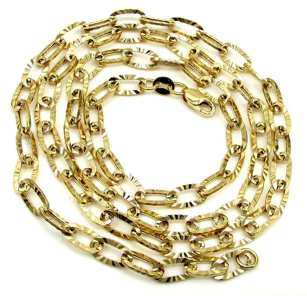 14k yellow gold fancy hollow diamond cut oval box chain 16-20 inch 4.5mm