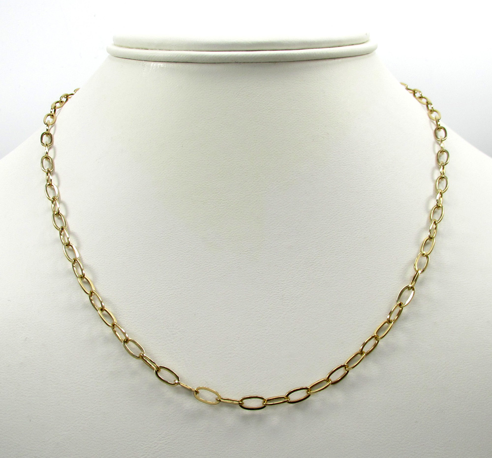 14k yellow gold fancy hollow oval box chain 16-30 inch 4mm