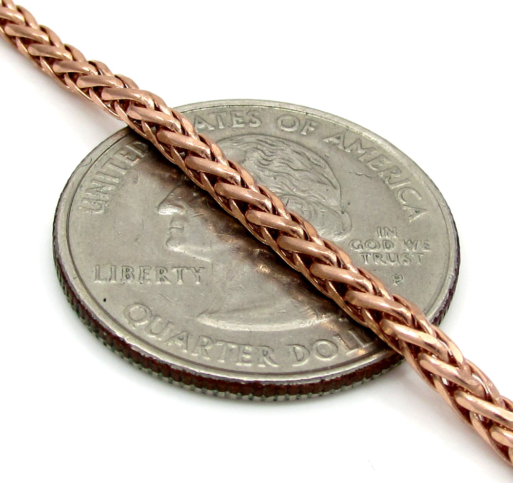 14k rose gold skinny hollow wheat franco chain 16-24 inch 2.5mm