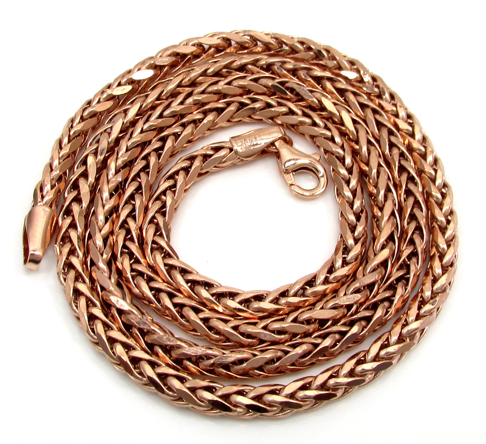 14k rose gold hollow wheat franco chain 16-24 inch 3.5mm