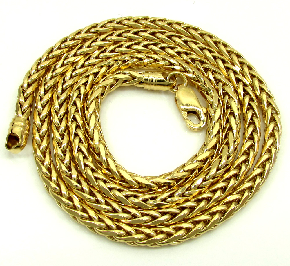 14k yellow gold skinny hollow wheat franco chain 18-30 inch 3mm