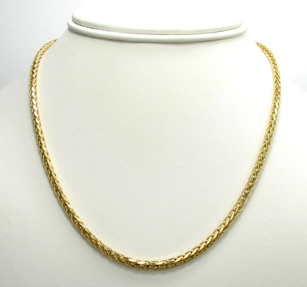 14k yellow gold skinny hollow wheat franco chain 16-30 inch 3mm