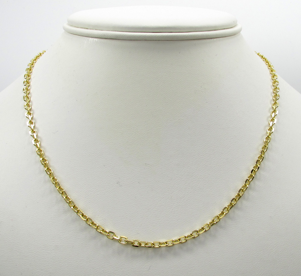 14k yellow gold skinny solid tight link cable chain 18-30 inch 2.5mm