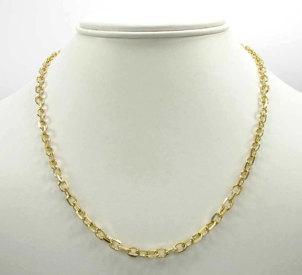 14k yellow gold solid cable chain 20-24 inch 4.5mm