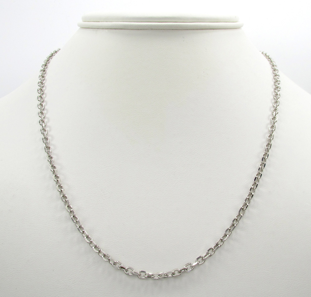 14k white gold medium solid cable chain 18-30 inch 3mm