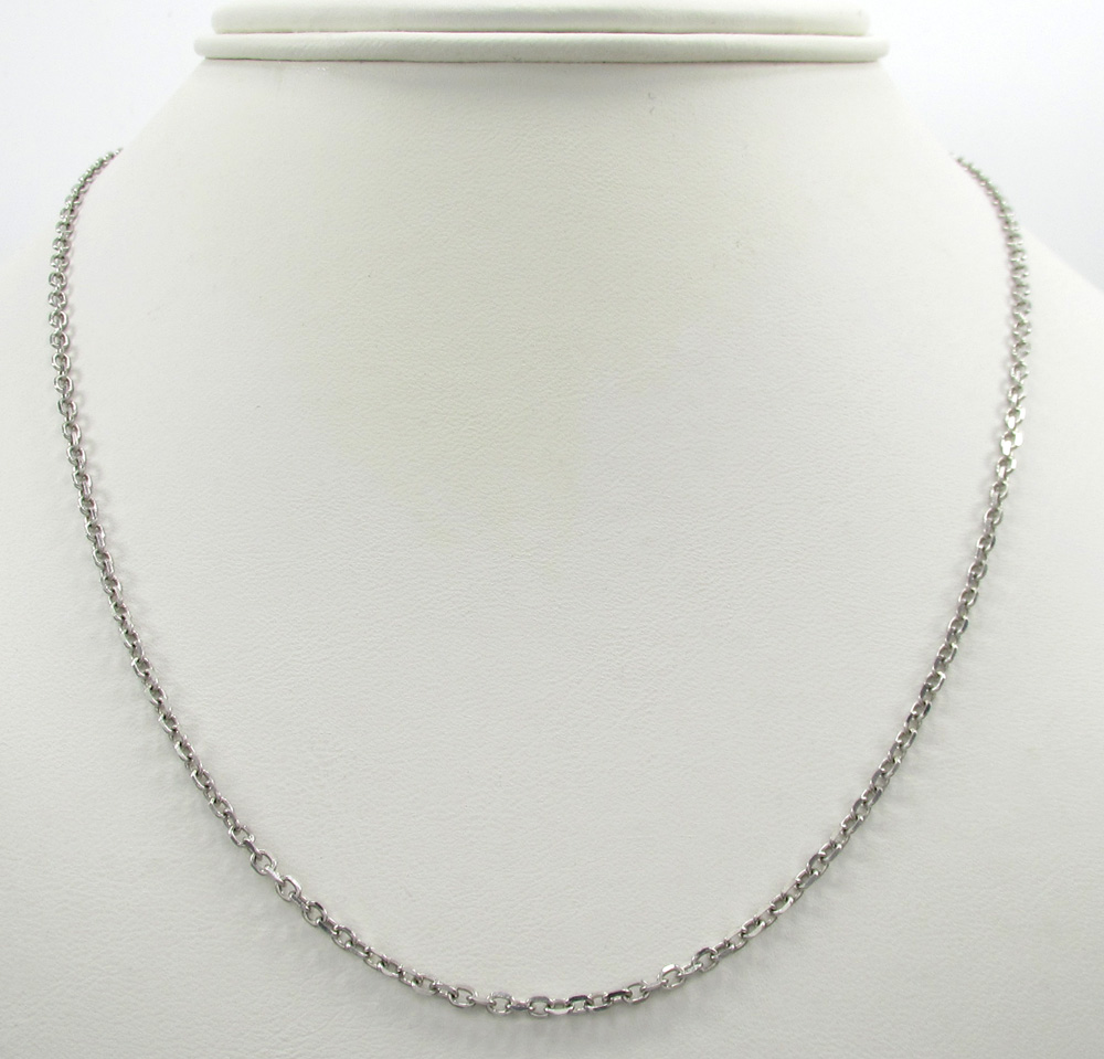 14k white gold super skinny solid cable chain 16-24 inch 2.0mm