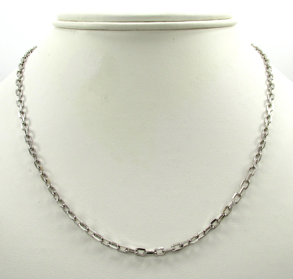 14k white gold skinny solid elongated cable chain 16-30 inch 2.7mm