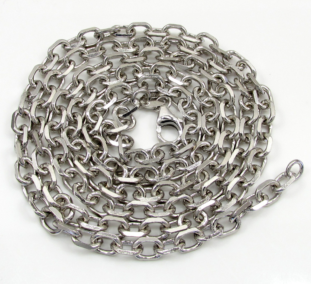 14k white gold solid cable chain 20-30 inch 3.5mm