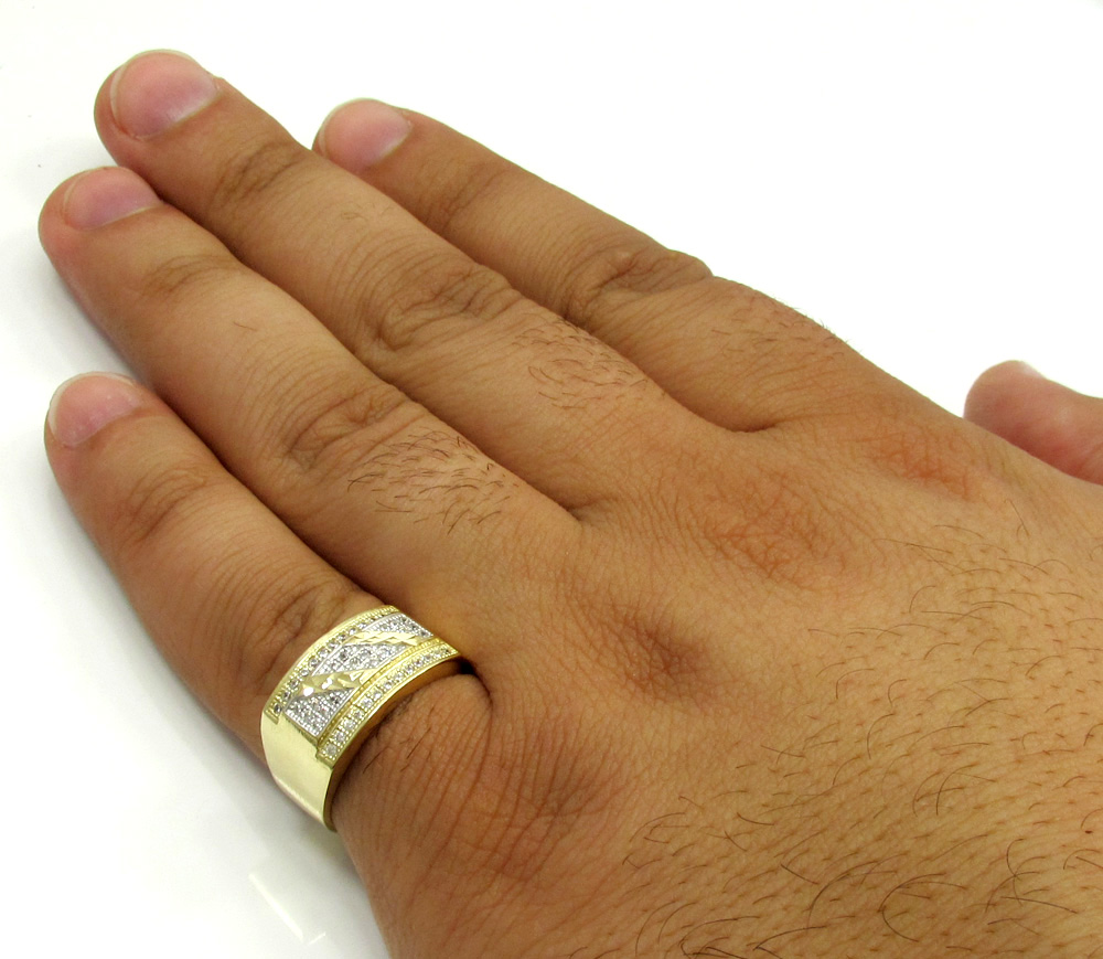 10k yellow gold cz striped ice ring 0.80ct