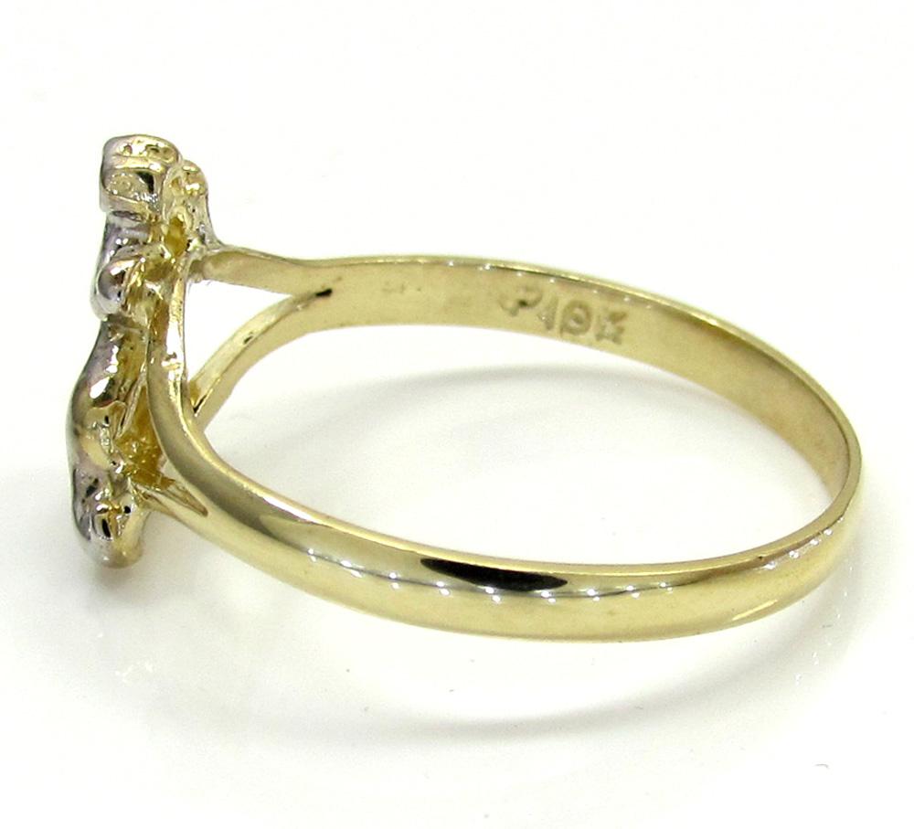 Ladies 10k yellow gold two tone feline jaguar ring