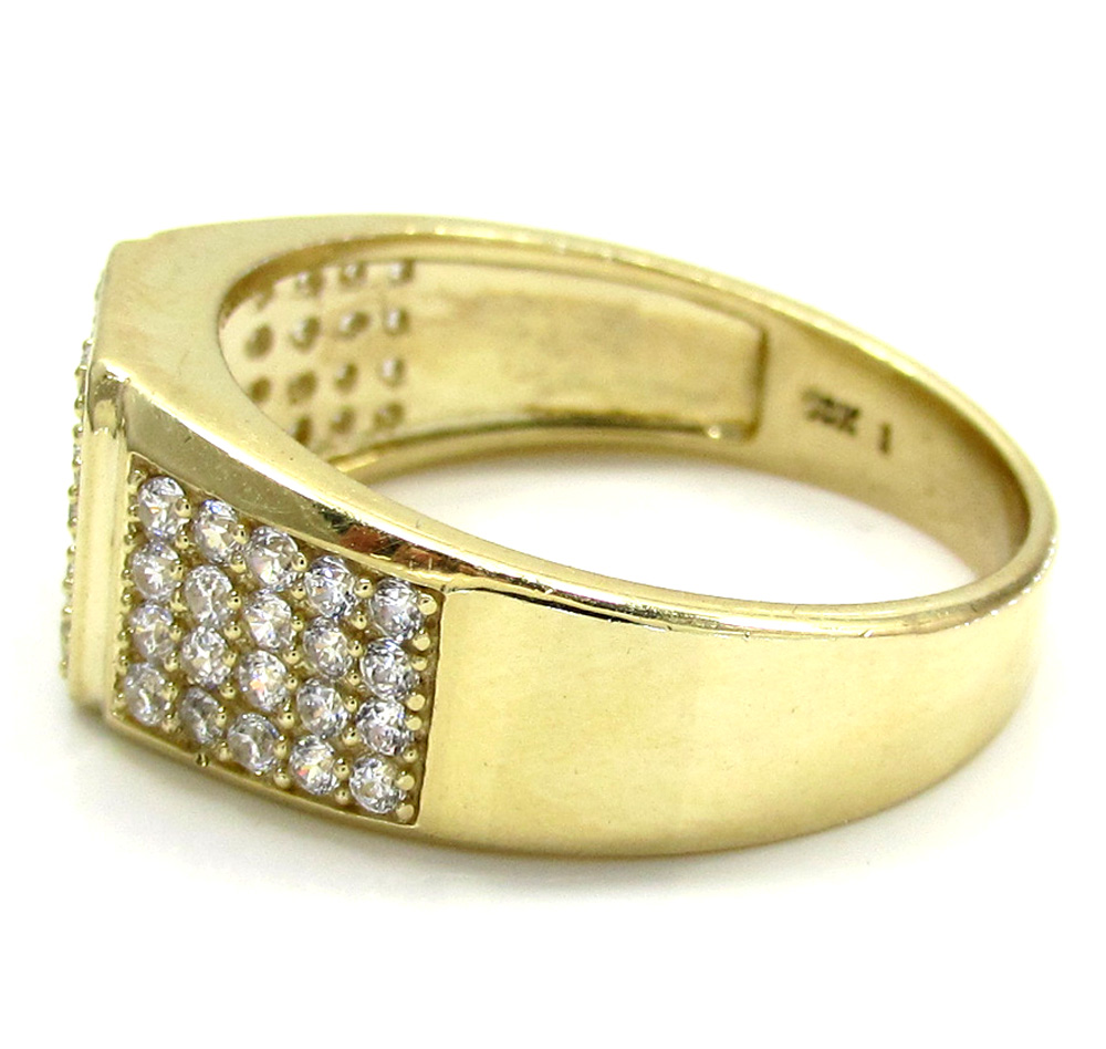 Mens 10k yellow gold five row cz ring 0.75ct