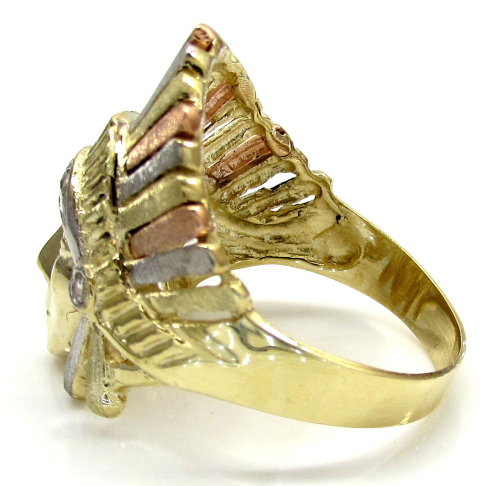 10k yellow gold cz three tone native tribal ring 0.25ct