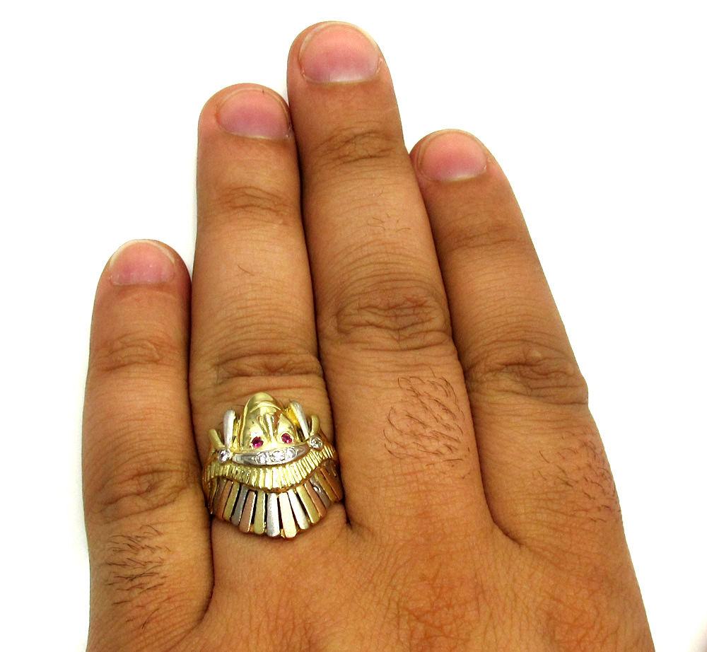 14k yellow gold cz three tone native tribal ring 0.25ct