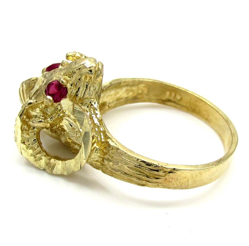 Unisex 10k yellow gold cz zodiac aries ram ring 0.08ct