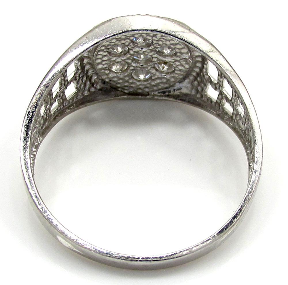10k white gold cz presidential cluster ring .38ct