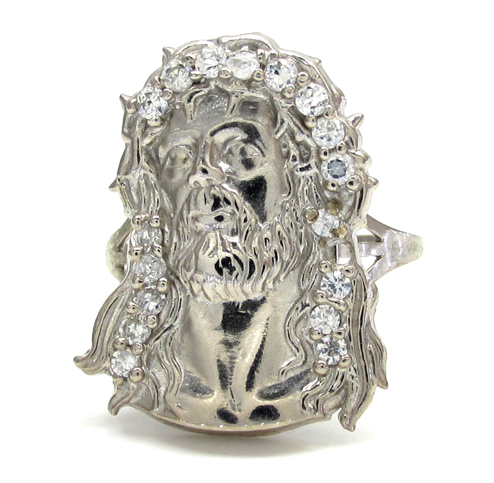 10k white gold two tone cz jesus face ring 0.30ct