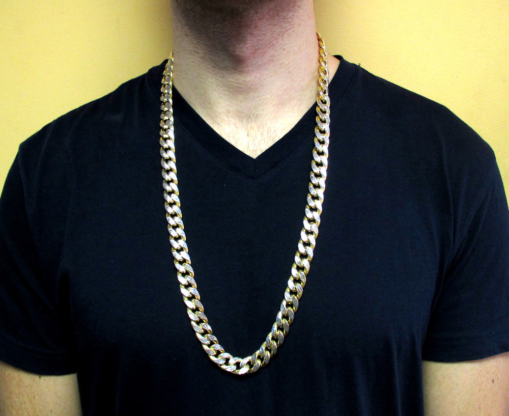 10k yellow gold thick reversible two tone miami chain 30 inch 13mm