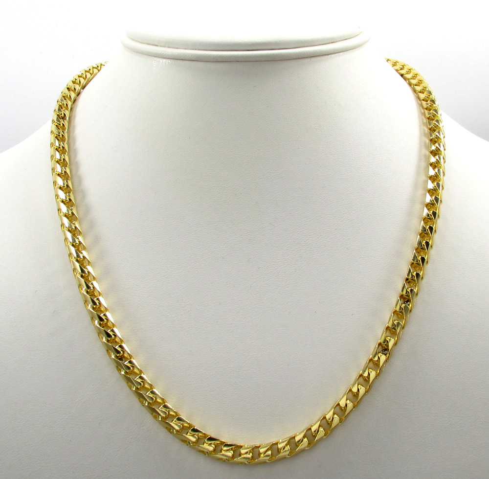 10k solid yellow gold large tight link franco chain 26 inch 5.2mm