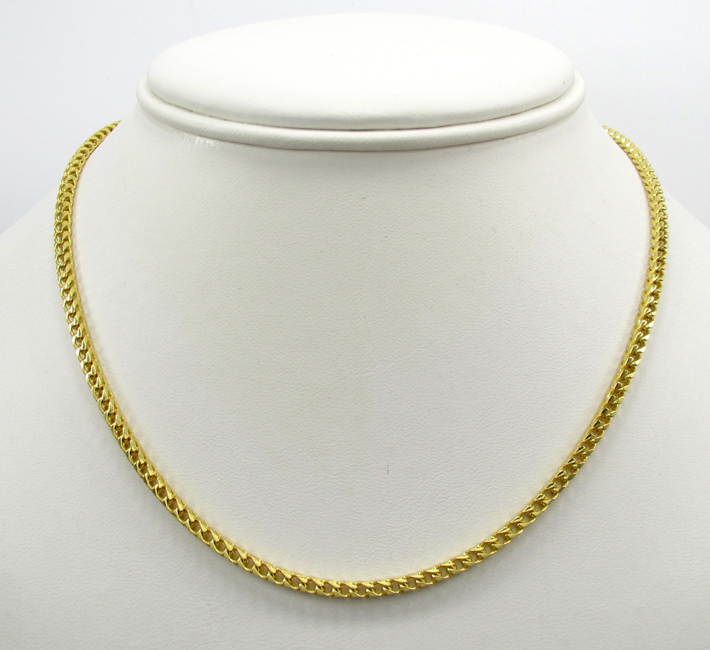 10k solid yellow gold skinny franco chain 18-26 inch 2.5mm
