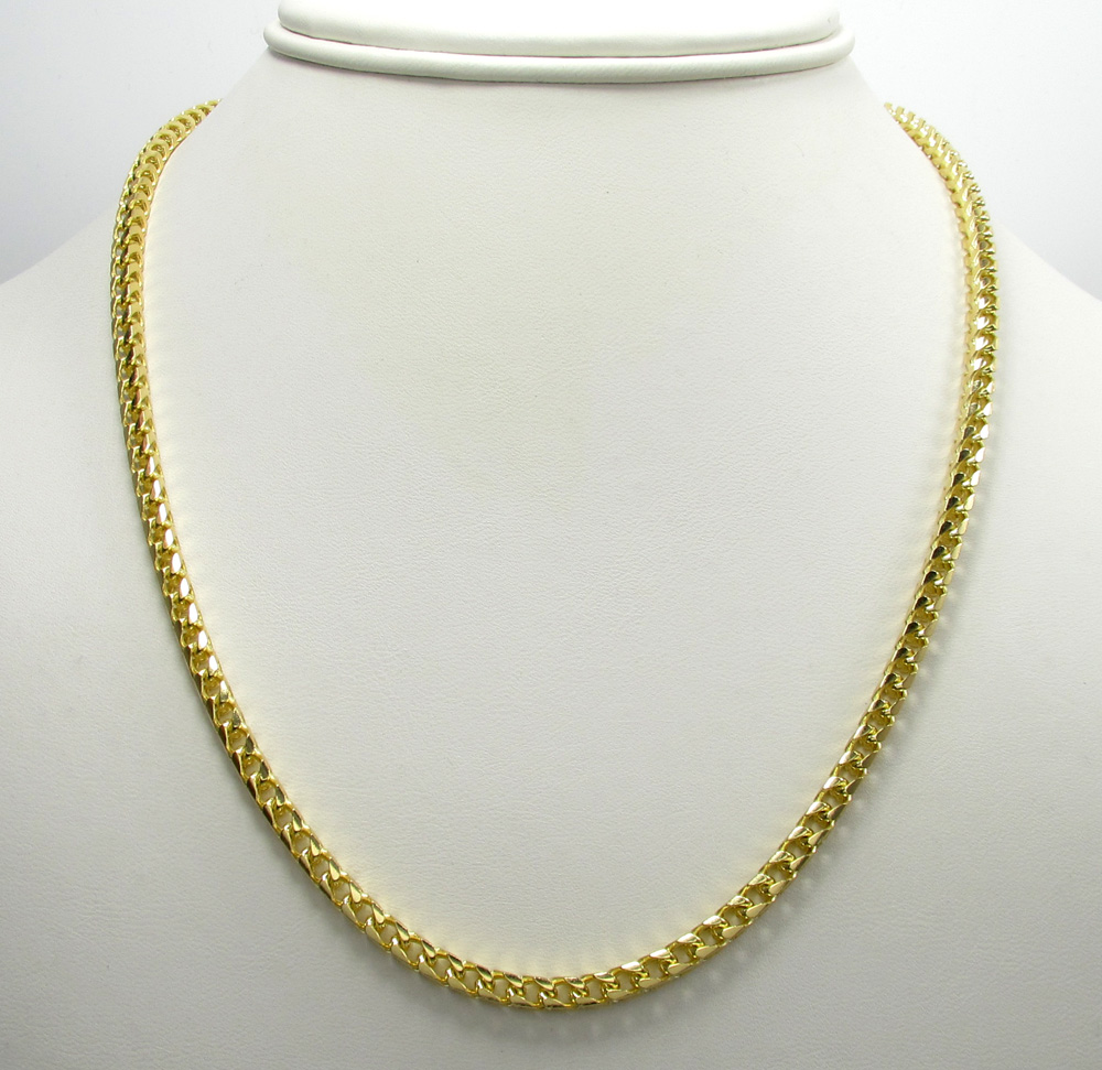 10k solid yellow gold tight link medium franco chain 20-30 inch 3.7mm