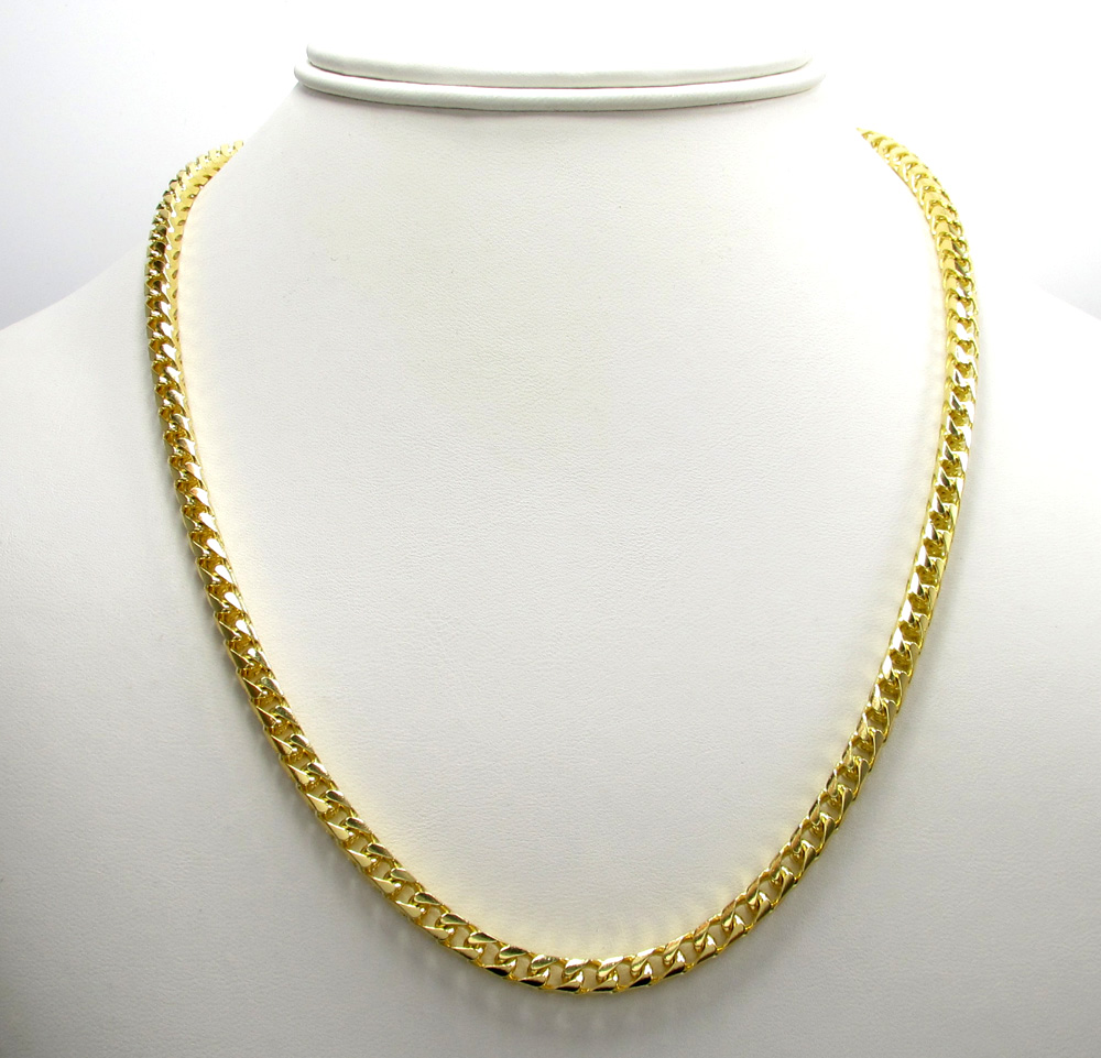 10k solid yellow gold tight link franco chain 24-26 inch 4.5mm