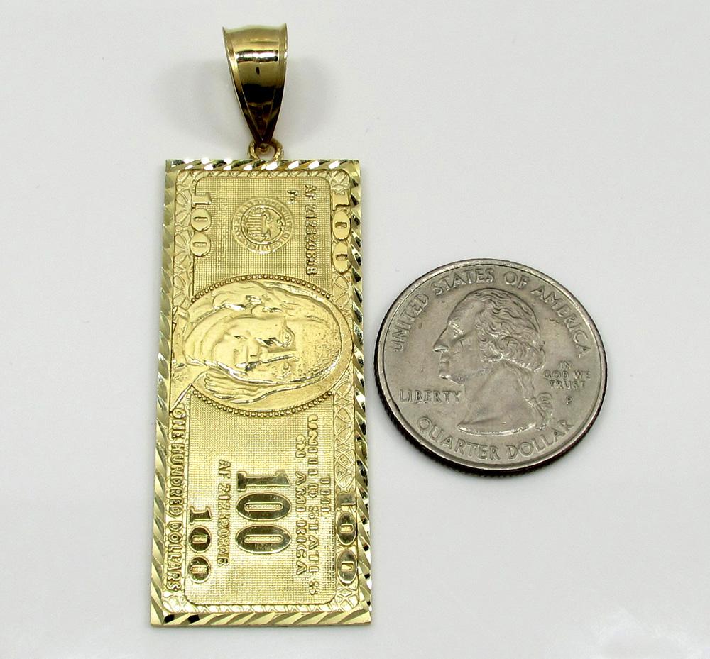 10k yellow gold medium hundred dollar bill plate