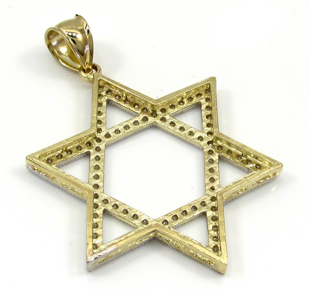 10k yellow gold xl iced out cz star of david pendant 1.00ct