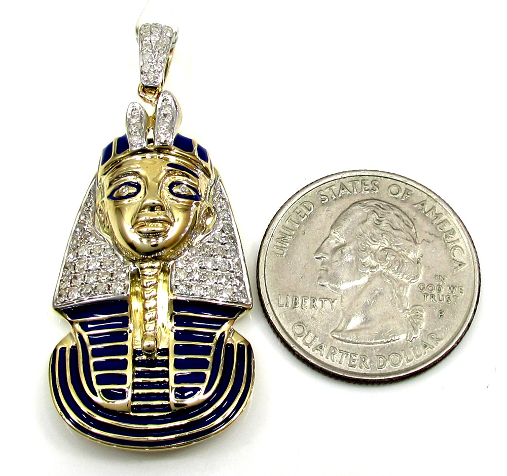 10k yellow gold pharaoh sphinx pyramid pendant .63ct