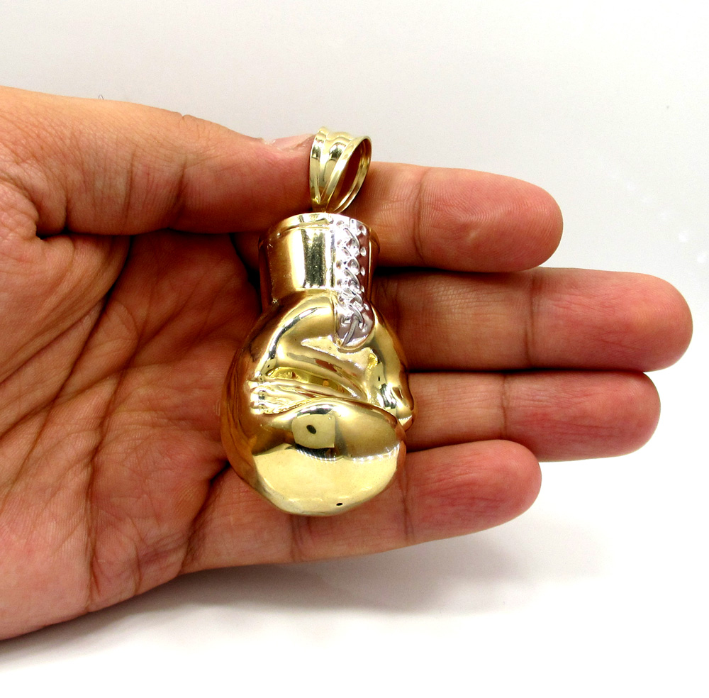 10k yellow gold two tone large boxing glove pendant