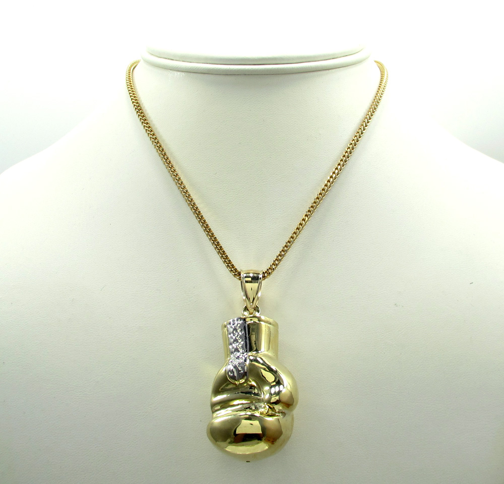 10k yellow gold two tone small boxing glove pendant