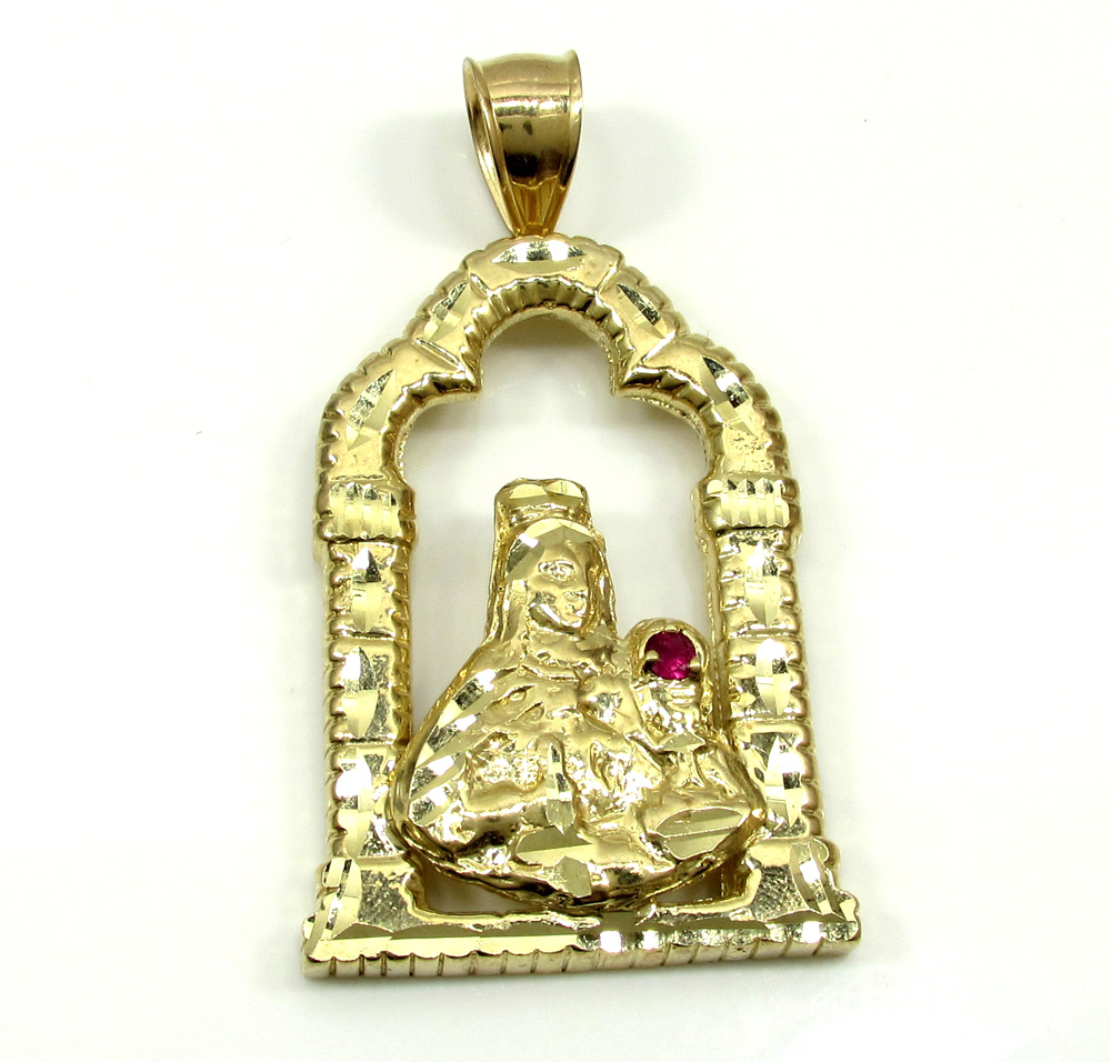 10k yelllow gold virgin mary cz altar pendant 010ct aloadofball Images