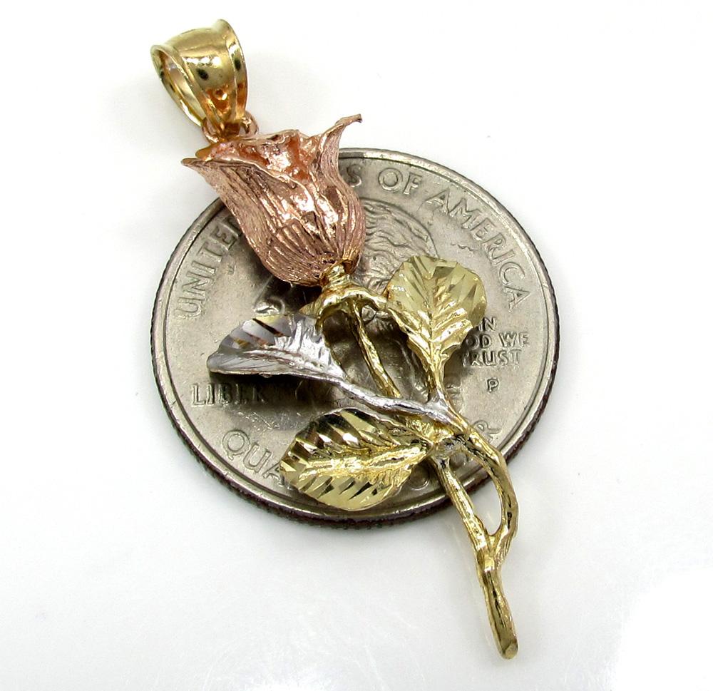 14k yellow gold medium three tone rose flower pendant