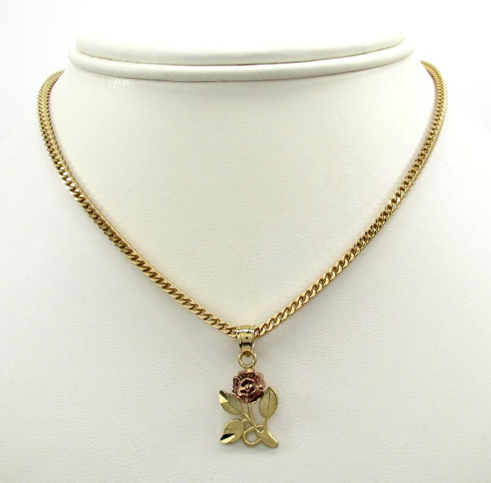 10k yellow gold two tone rose petal flower pendant