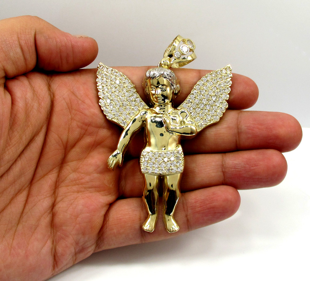 Yellow gold large angel baby cherub cz pendant 090ct 10k yellow gold large angel baby cherub cz pendant 090ct mozeypictures Gallery