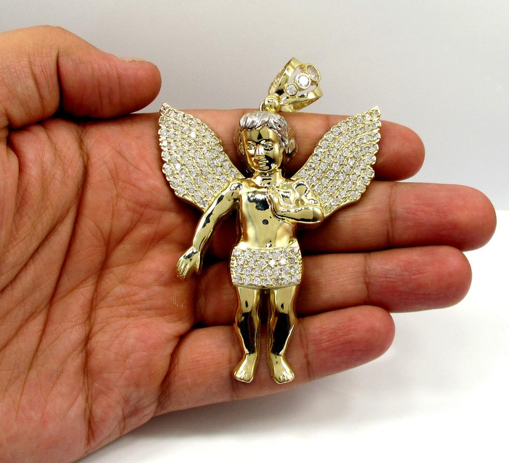 10k yellow gold large angel baby cherub cz pendant 0.90ct