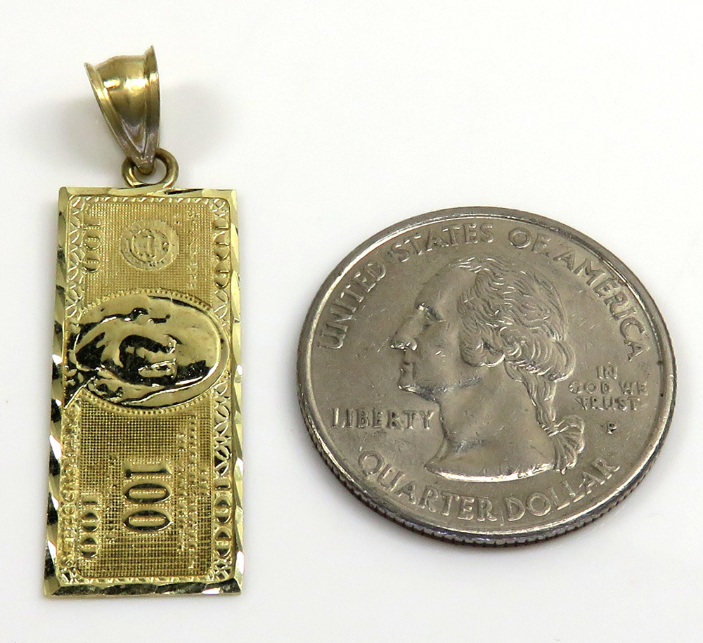 10k yellow gold $100 dollar bill money pendant